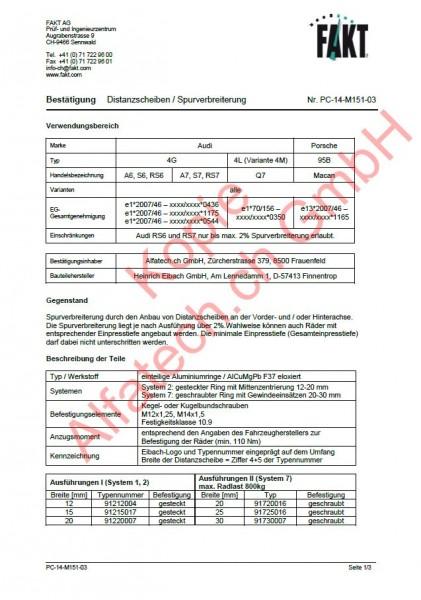 CH-Gutachten Spurverbreiterung Audi A6 - S6 - RS6 - A7 - S7 - RS7 - Q7 - Porsche Macan PC-14-M151-03