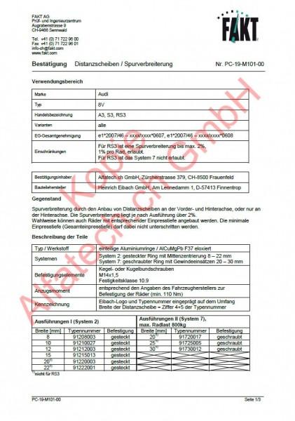 CH-Gutachten Spurverbreiterung Audi A3 - S3 - RS3 (8V) PC-19-M101-00