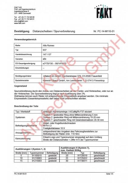 CH-Gutachten Spurverbreiterung Alfa Romeo 147 - GT PC-14-M116-01
