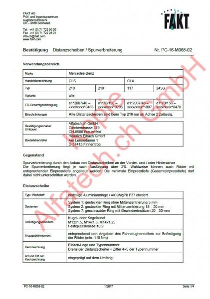 CH-Gutachten Spurverbreiterung Mercedes CLS (218-219) CLA (117-245G) PC-16-M068-02