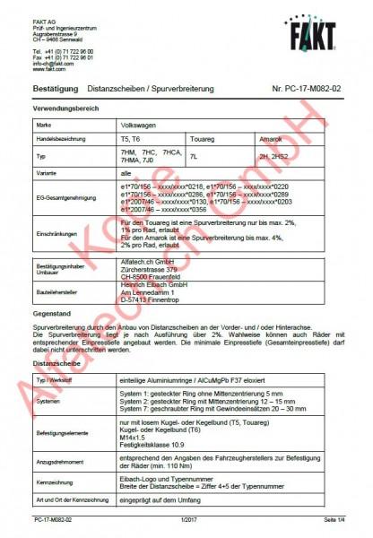 CH-Gutachten Spurverbreiterung VW T5 - T6 - Touareg - Amarok PC-17-M082-02