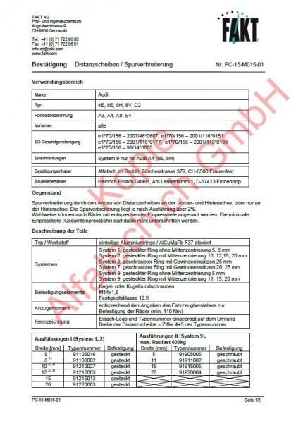 CH-Gutachten Spurverbreiterung Audi A3 (8V) A4 (8E-8H) A8 (4E-D2) S4 (8E-8H) PC-15-M015-01