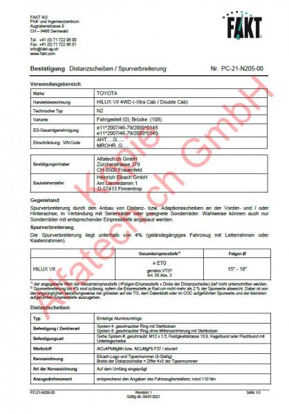 CH-Gutachten Spurverbreiterung TOYOTA HILUX VII Pick-up 4WD (N2) PC-21-N205-00