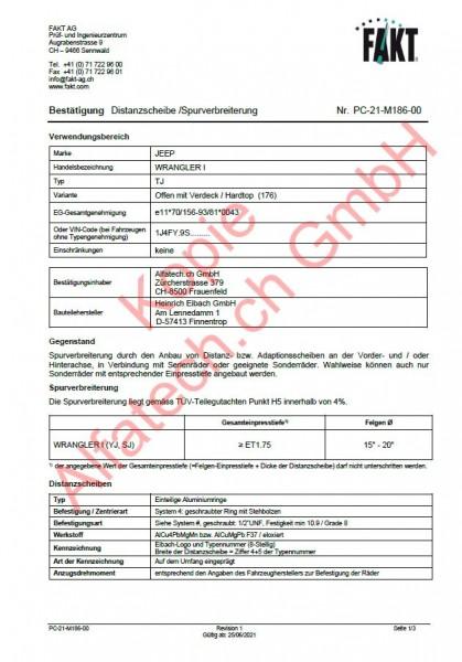 CH-Gutachten Spurverbreiterung JEEP Wrangler I (YJ, SJ) (86-96) PC-21-M186-00