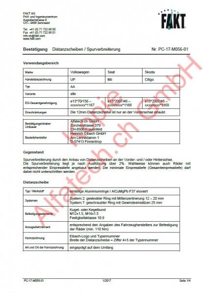CH-Gutachten Spurverbreiterung VW UP - Seat Mii - Skoda Citigo PC-17-M056-01
