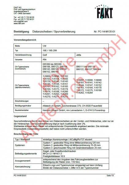 CH-Gutachten Spurverbreiterung VW Golf - Jetta (19E) PC-14-M135-01