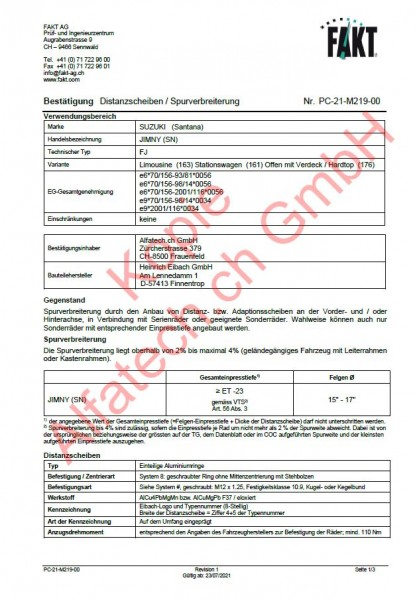 CH-Gutachten Spurverbreiterung SUZUKI (Santana) JIMMY (FJ, SN) PC-21-M219-00