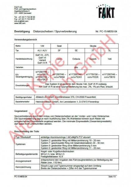 CH-Gutachten Spurverbreiterung VW Golf VII - Seat Leon - Skoda Octavia - Superb - Yeti PC-15-M050-04