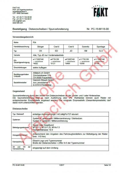 CH-Gutachten Spurverbreiterung Kia Stinger (CK) Cee'd (ED) Cee'd (JD) Sorento (XM) Sportage (SLS) PC-19-M118-00
