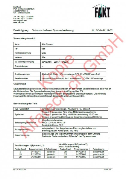 CH-Gutachten Spurverbreiterung Alfa Romeo Mito (955) PC-14-M117-02