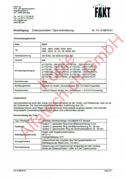 CH-Gutachten Spurverbreiterung BMW 3 (E46) - 3 (E90-E91-E92-E93) - M3 PC-15-M070-01