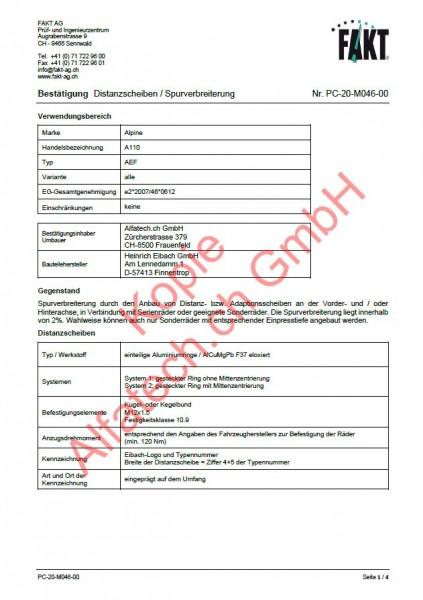 CH-Gutachten Spurverbreiterung Alpine A110 (AEF) PC-20-M046-00