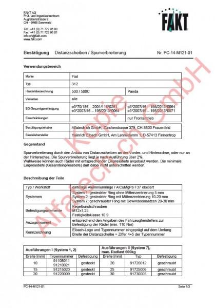 CH-Gutachten Spurverbreiterung Fiat 500 - 595 - 695 - 500C - Panda PC-14-M121-01