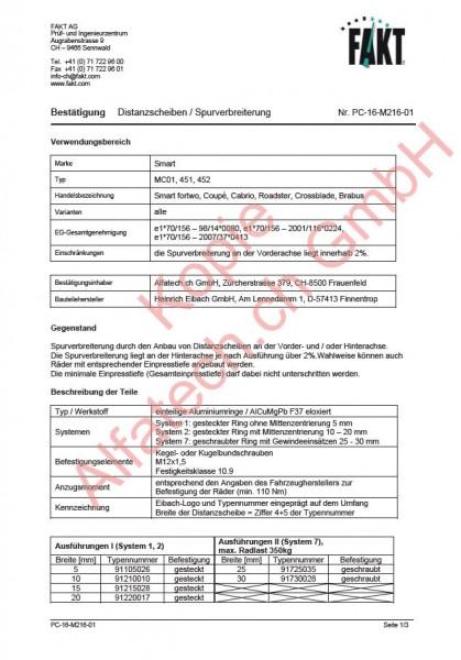 CH-Gutachten Spurverbreiterung Smart (MC01, 451, 452) PC-16-M216-01