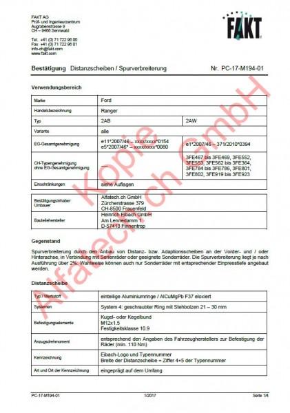 CH-Gutachten Spurverbreiterung Ford Ranger PC-17-M194-01